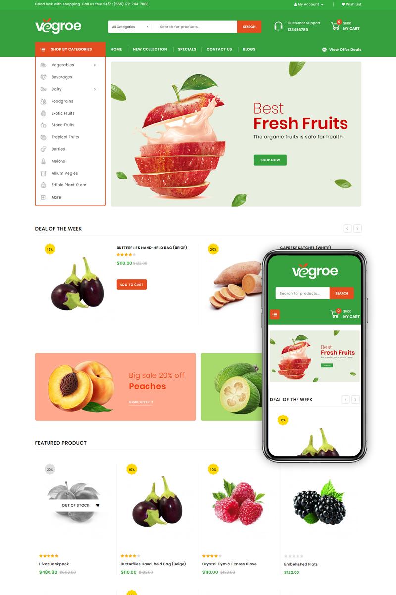 """Vegroe - Grocery Shop"" OpenCart模板 #77851"