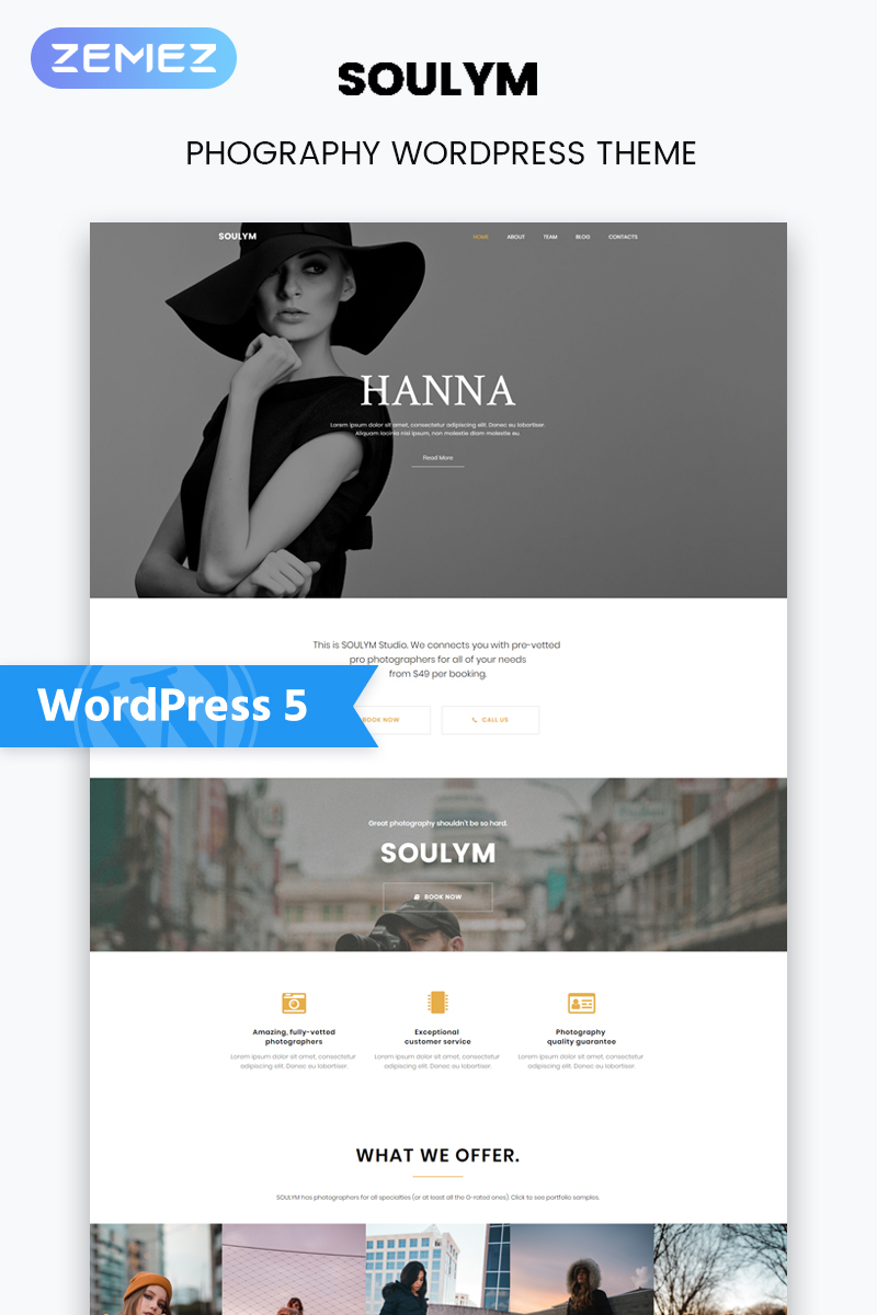 "WordPress Theme namens ""Soulym - Photography Multipurpose Modern Elementor"" #77828"
