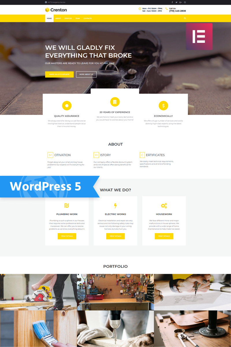 Crenton - Construction Multipurpose Modern Elementor WordPress Theme