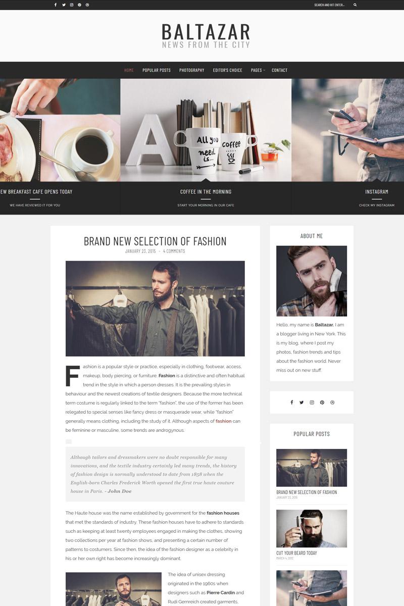 """Baltazar - A  Masculine Blog"" Responsive WordPress thema №77973 - screenshot"