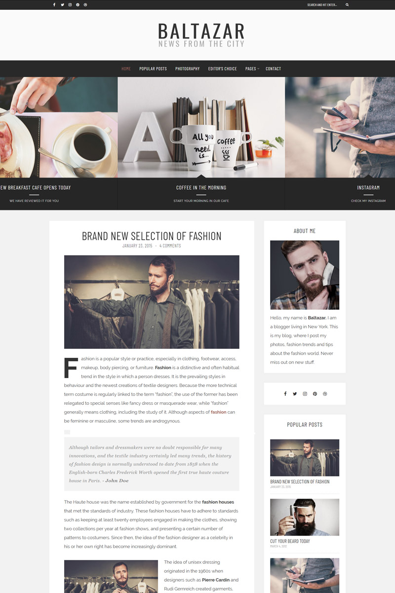 """Baltazar - A  Masculine Blog"" thème WordPress adaptatif #77973 - screenshot"
