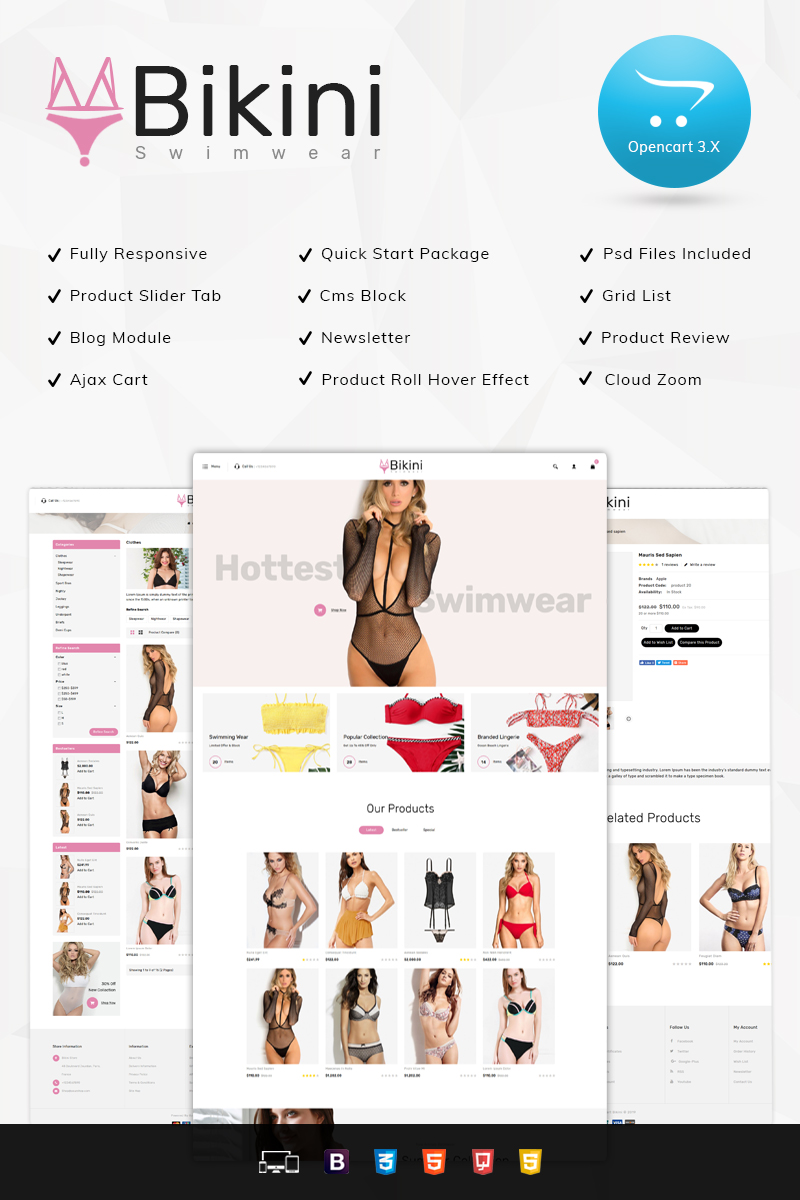 Bikini Swimwear Store OpenCart Template