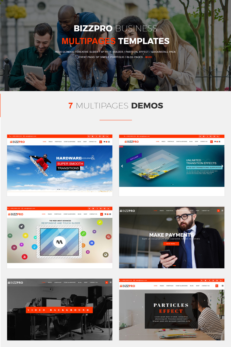 Bizzpro- Multipages Business Joomla Template - screenshot