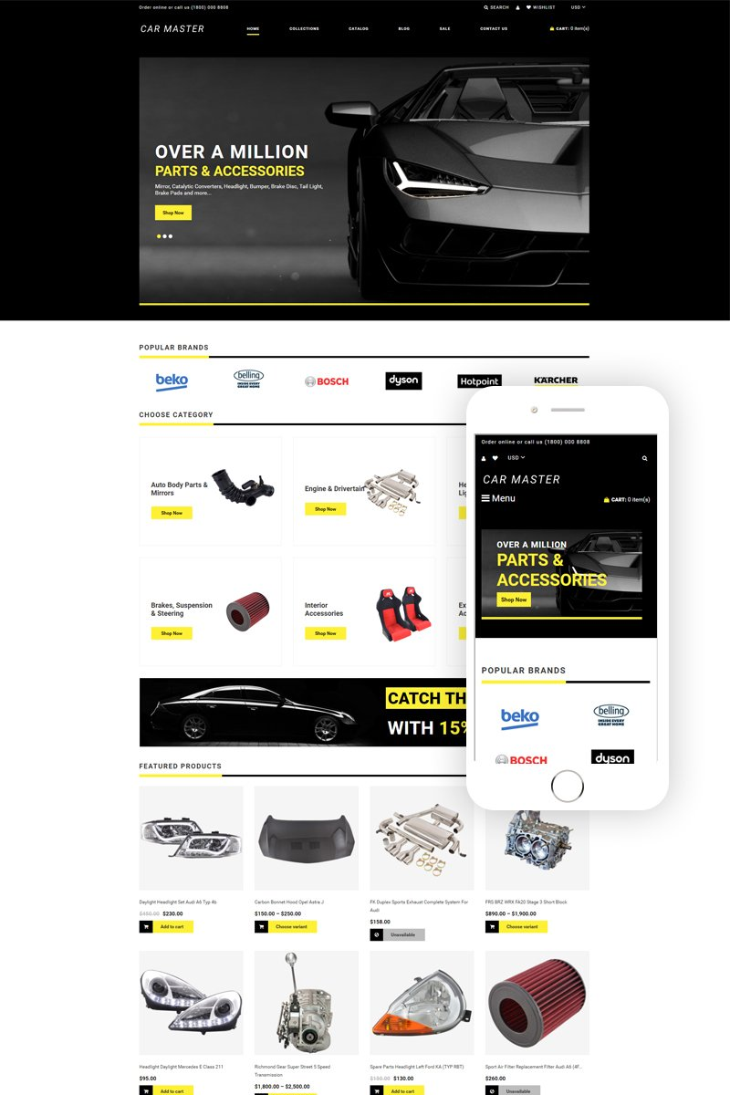 """Car Master - Auto Parts Multipage Creative"" 响应式Shopify模板 #77962"