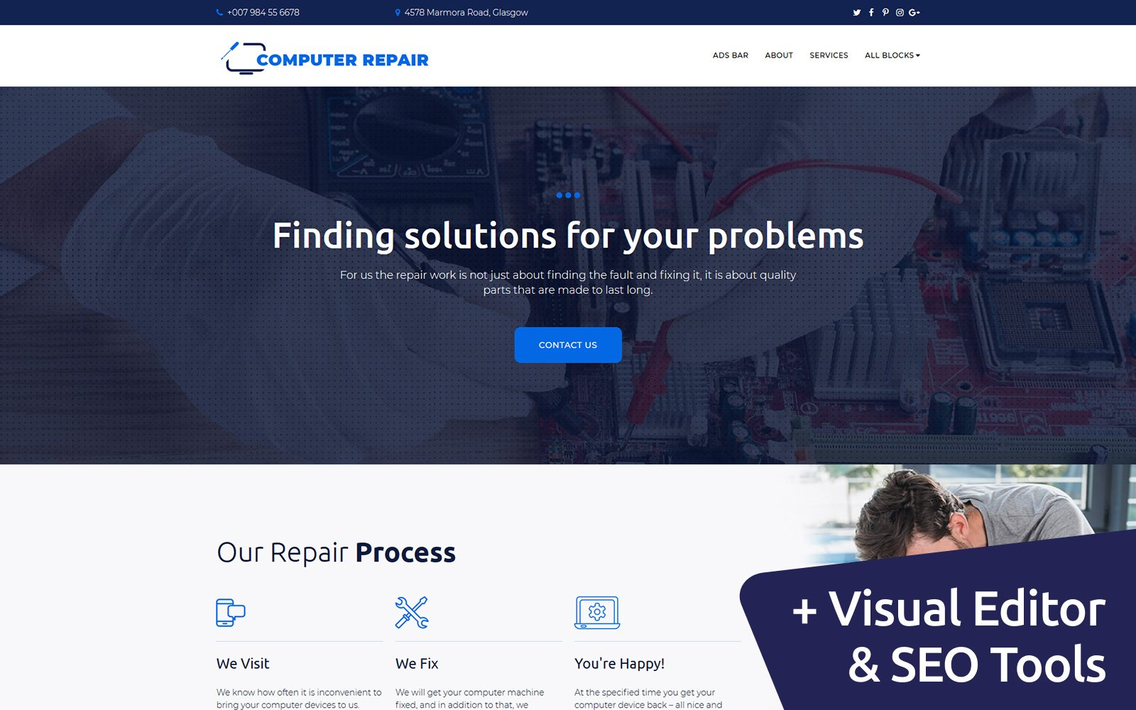 Computer Repair Landing Page Template