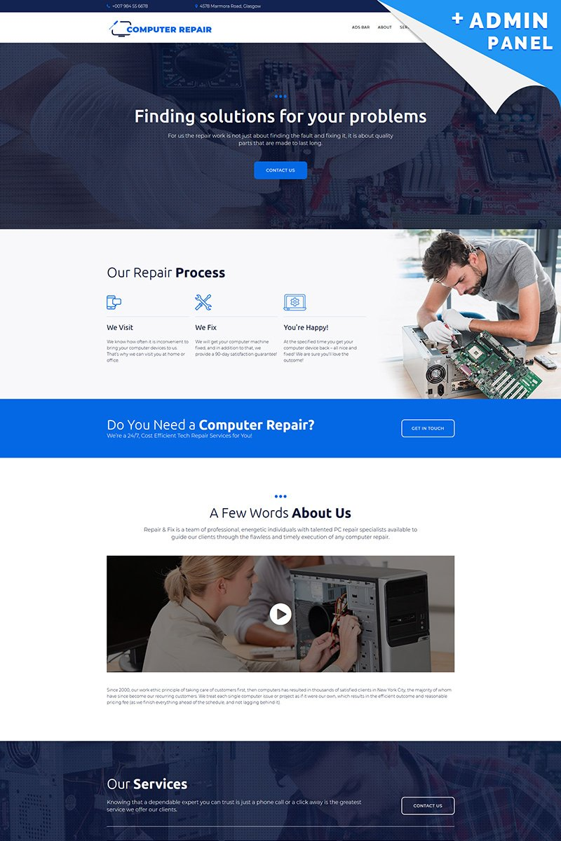 Computer Repair Landing Page Template