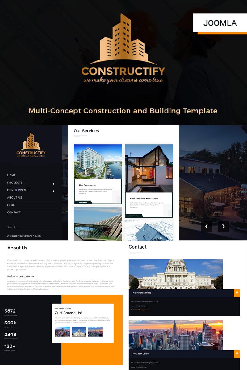 """Constructify- Construction and Building"" - адаптивний Joomla шаблон №77943"