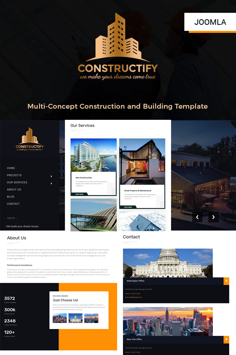Constructify- Multipurpose Construction and Building | Business Joomla Template - screenshot