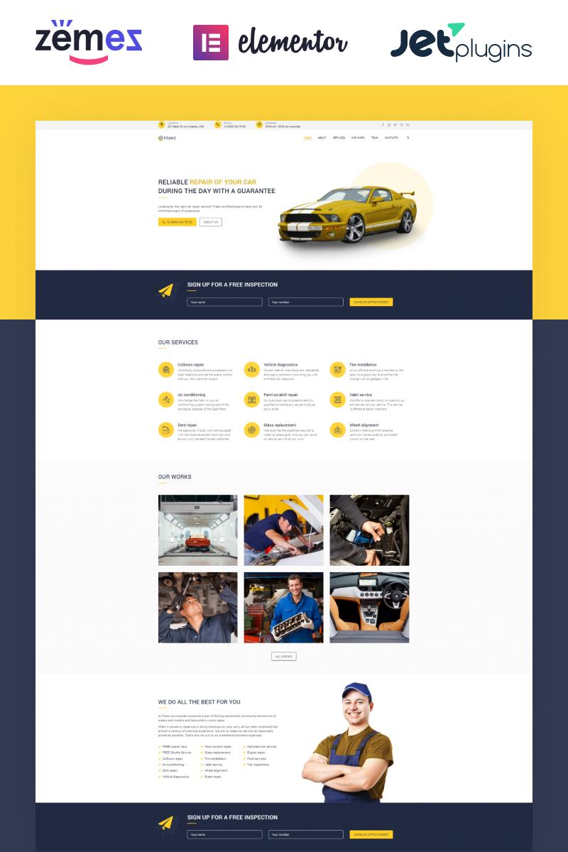 """""""Fraks - Car Repair Multipurpose Classic Elementor"""" Responsive WordPress thema №77920"""