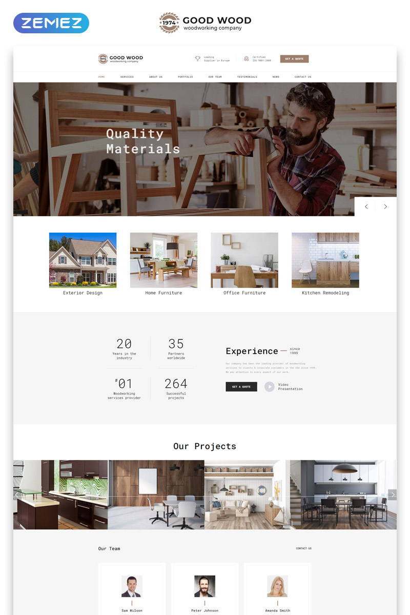 """Good Wood - Interior & Furniture Clean HTML"" Responsive Landingspagina Template №77934"
