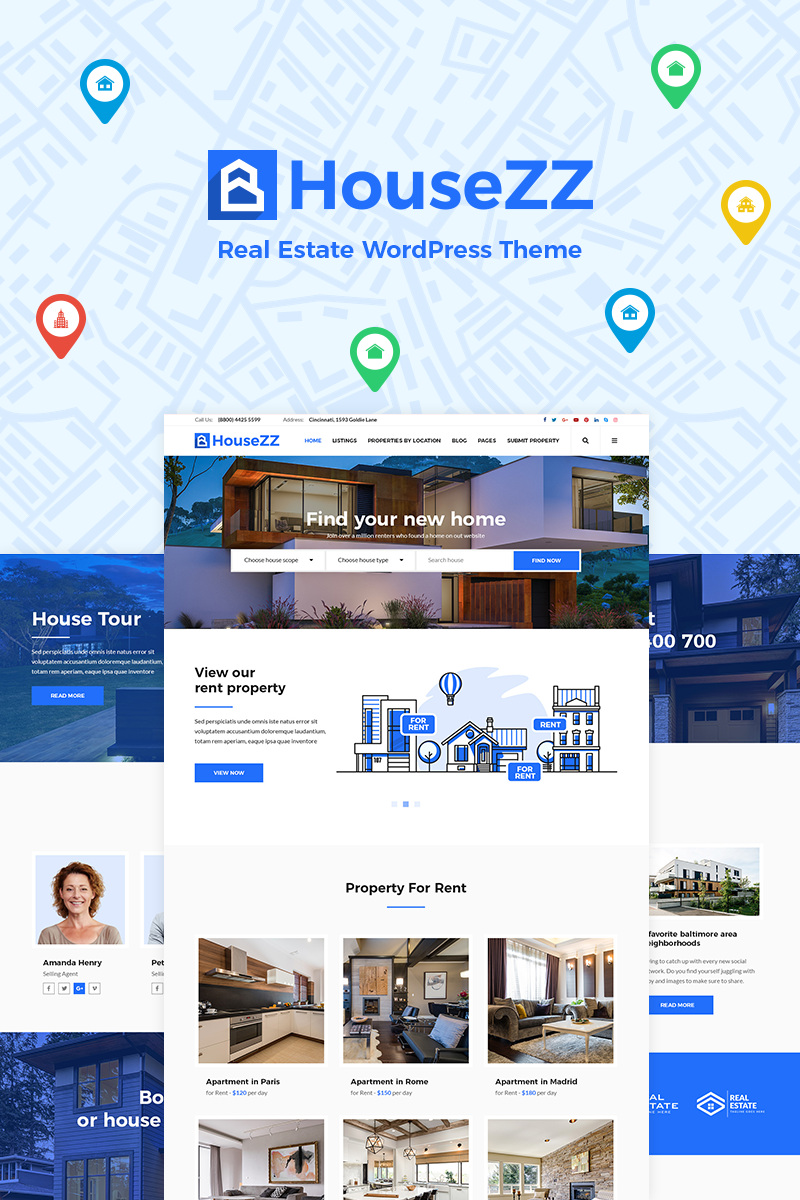 """""""Housezz - Real Estate Listings"""" Bootstrap WordPress thema №77929"""