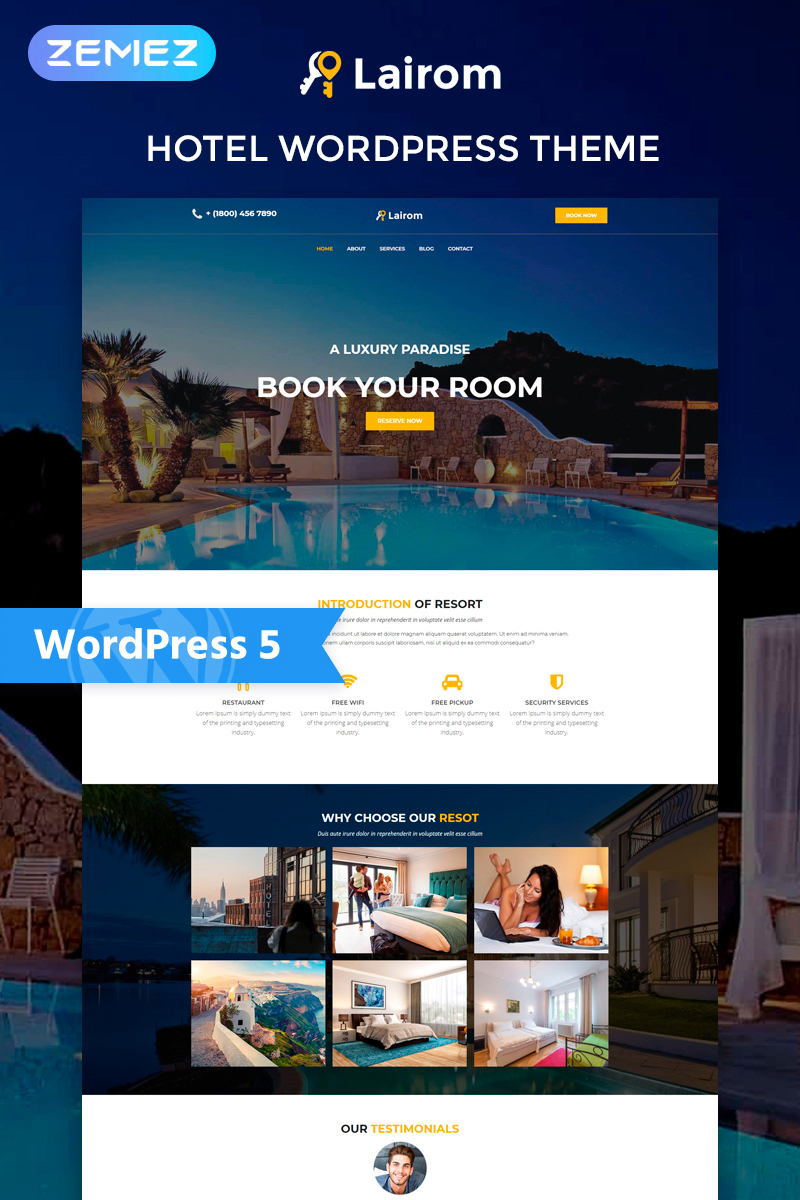 """Lairom - Hotel Multipurpose Modern Elementor"" 响应式WordPress模板 #77972"