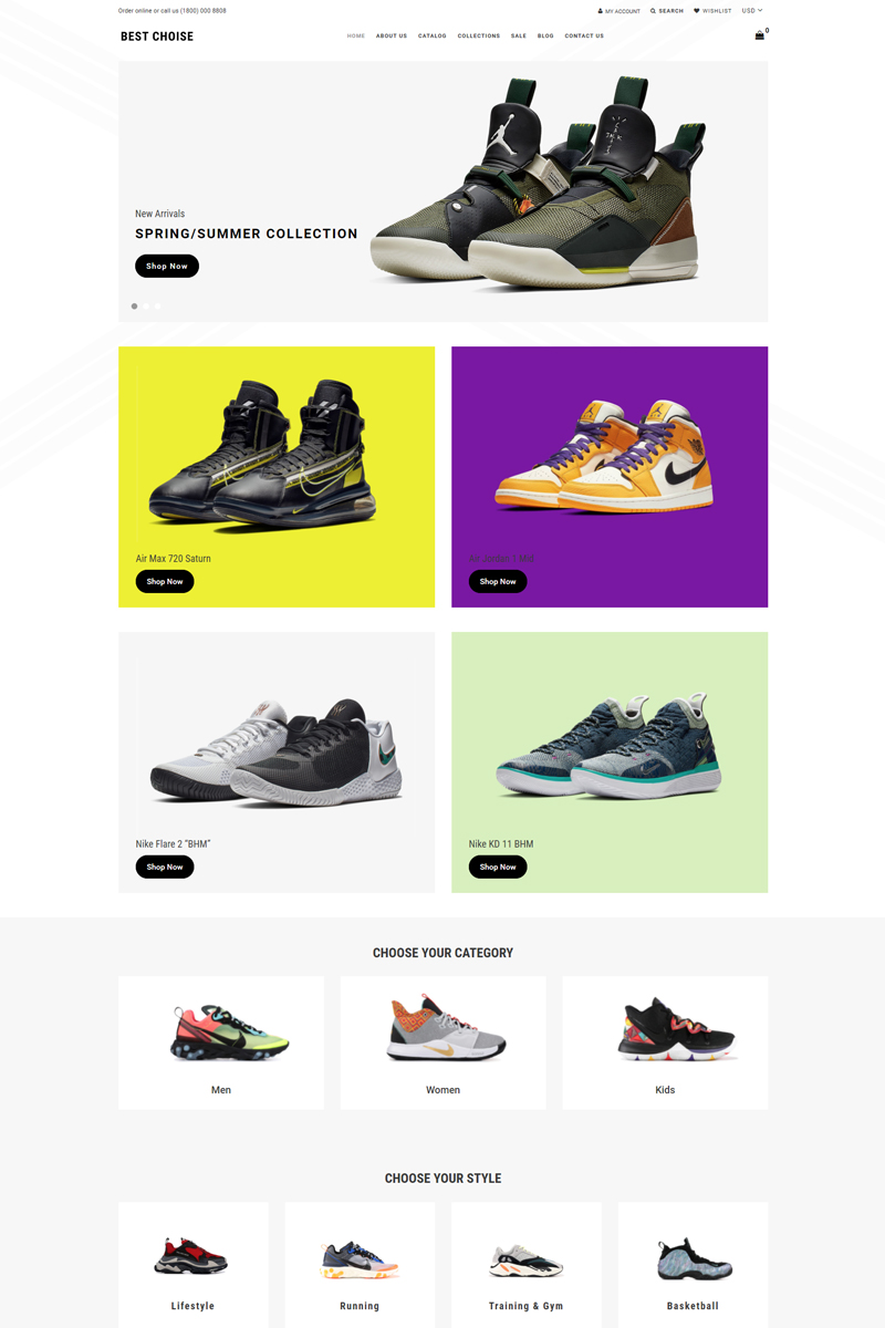 "Modello Shopify Responsive #77963 ""Best Choice - Shoes Store Clean"""