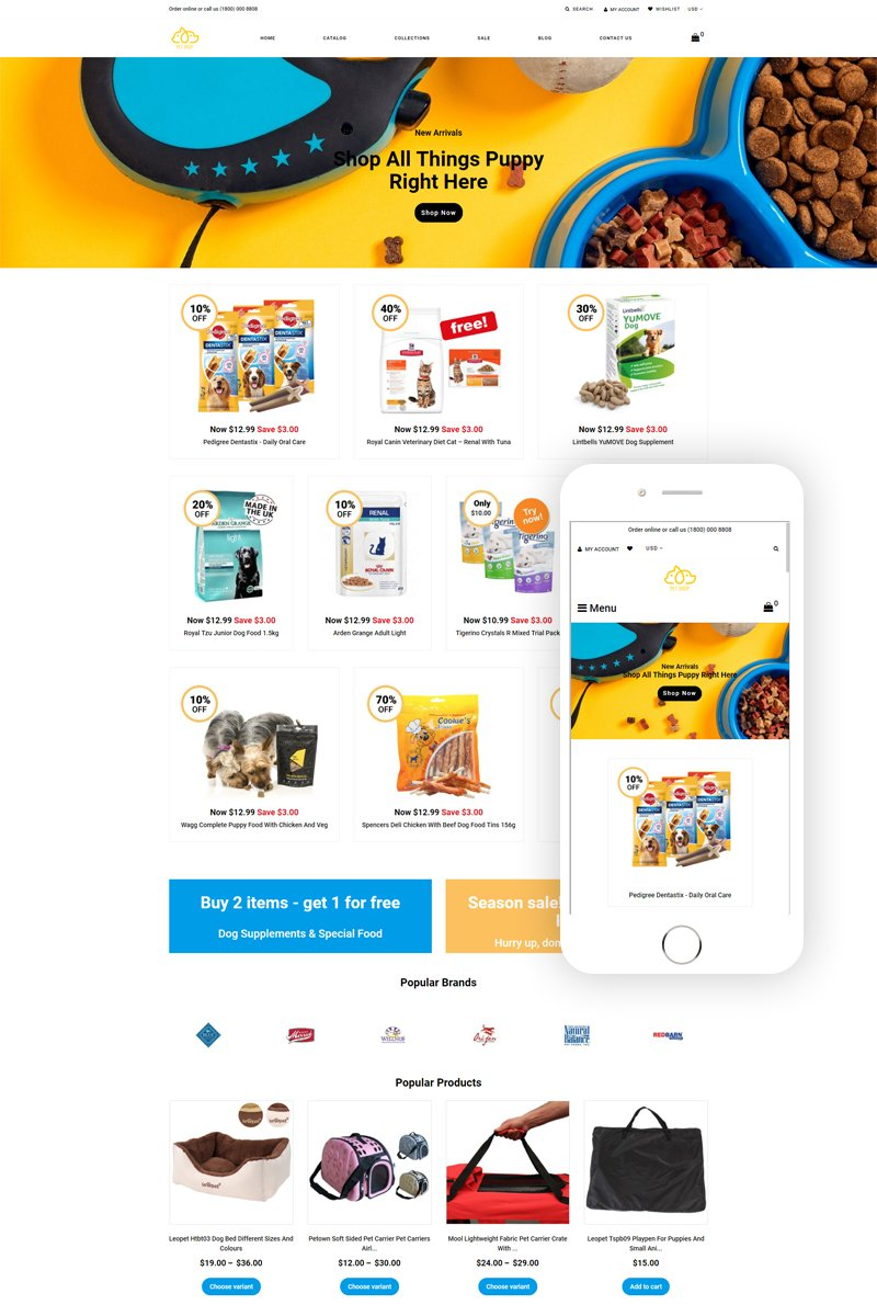 """Pet Shop Multipage Multipage"" Responsive Shopify Thema №77912"