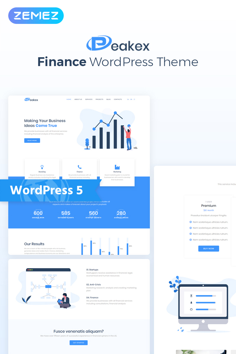 "Template WordPress Responsive #77971 ""Peakex - Finance Multipurpose Infographic Elementor"""