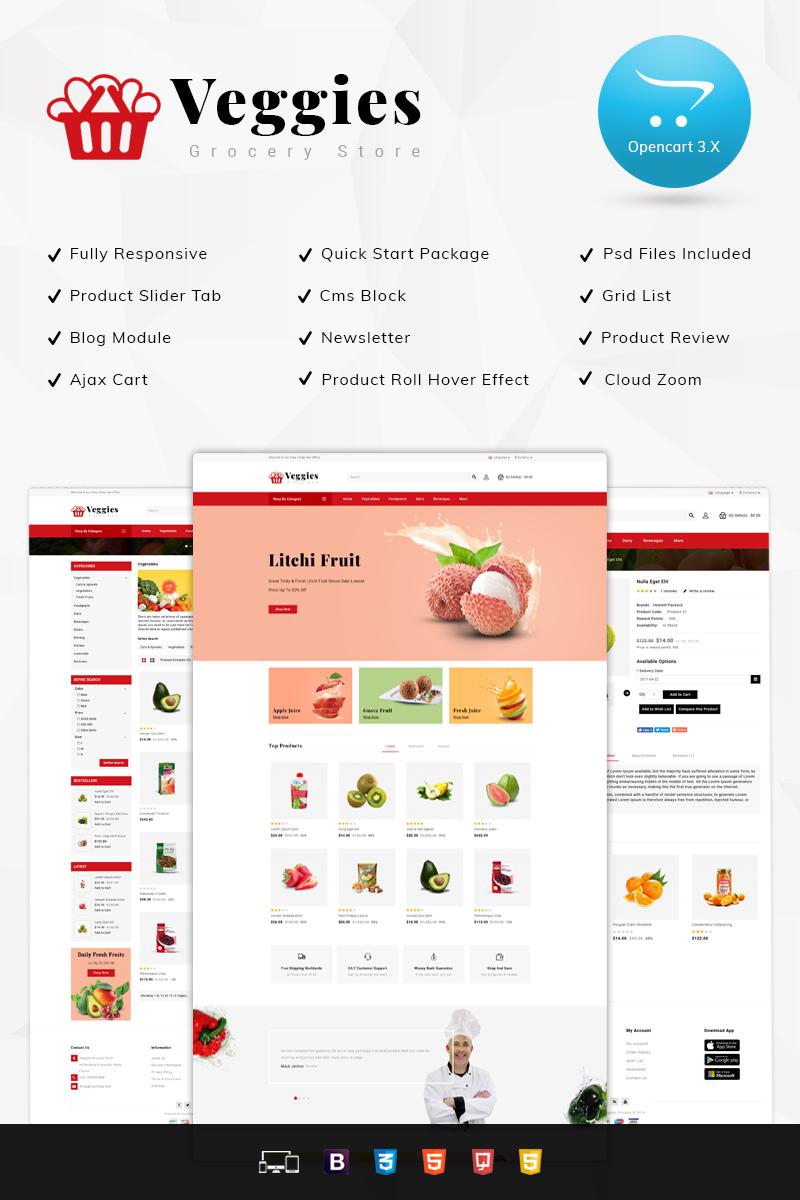 """Veggies Grocery Store"" 响应式OpenCart模板 #77966"