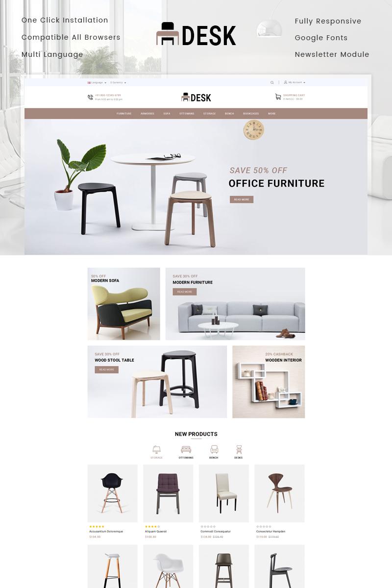 """""""Desk Furniture Store"""" Responsive OpenCart Template №78046 - screenshot"""