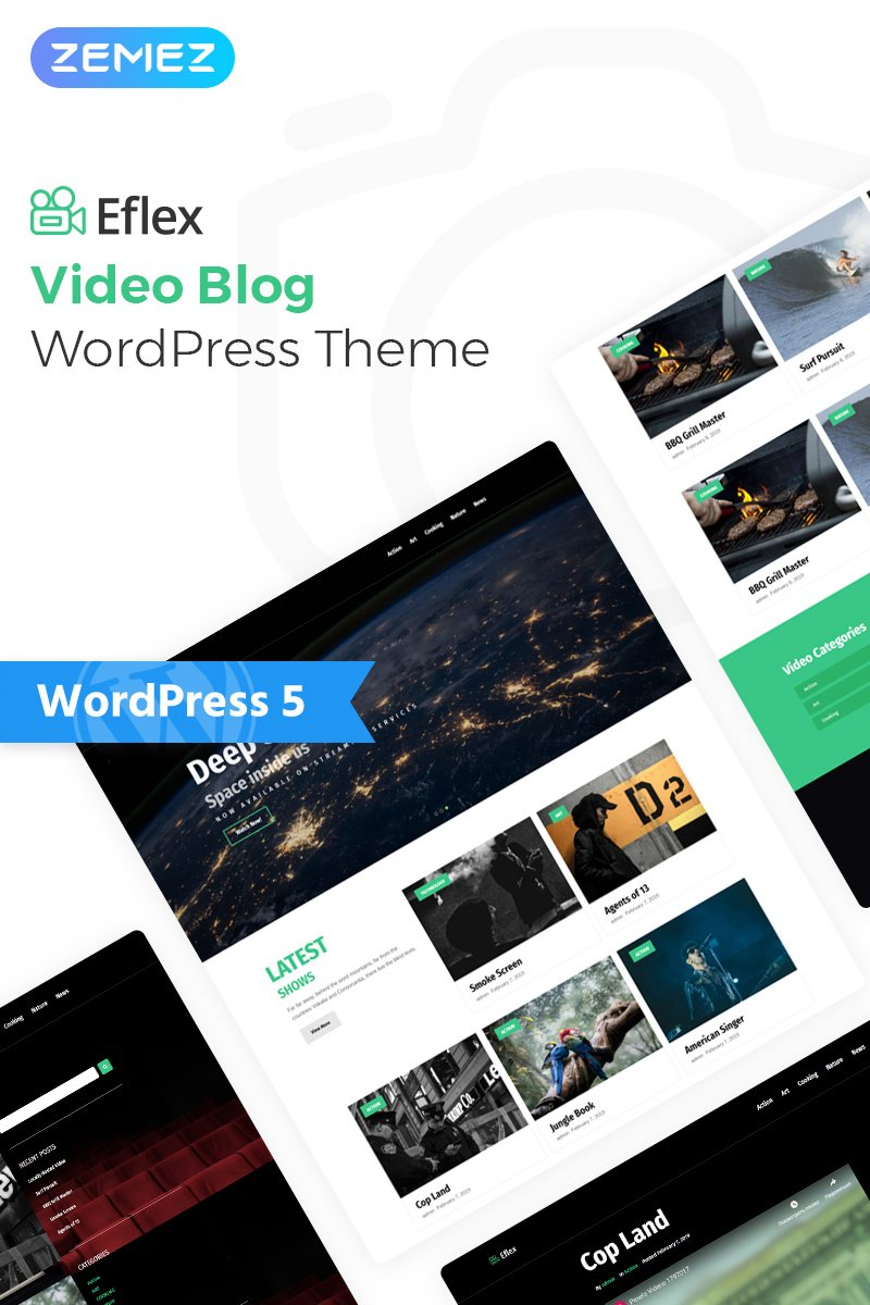 """Eflex - Video Blog Multipurpose Classic Elementor"" Responsive WordPress thema №78053"