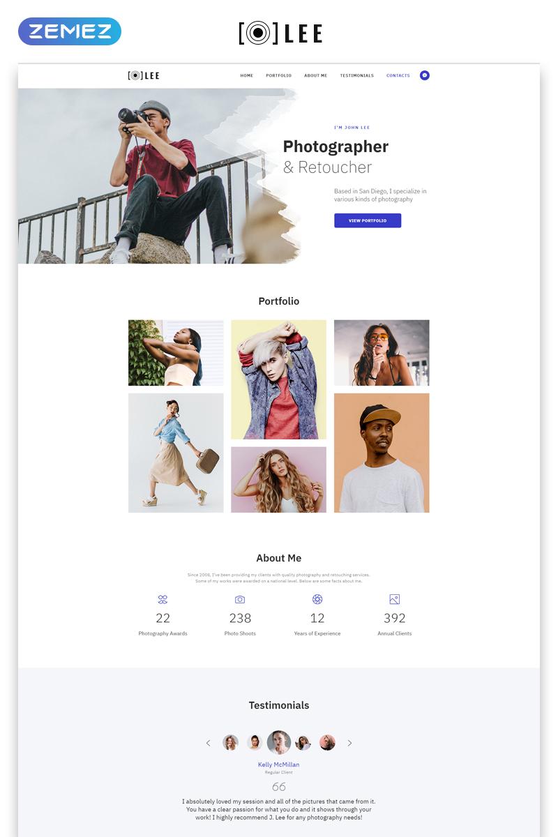 """""""Lee - Photographer Portfolio Minimal HTML5"""" modèle  de page d'atterrissage adaptatif #78061 - screenshot"""