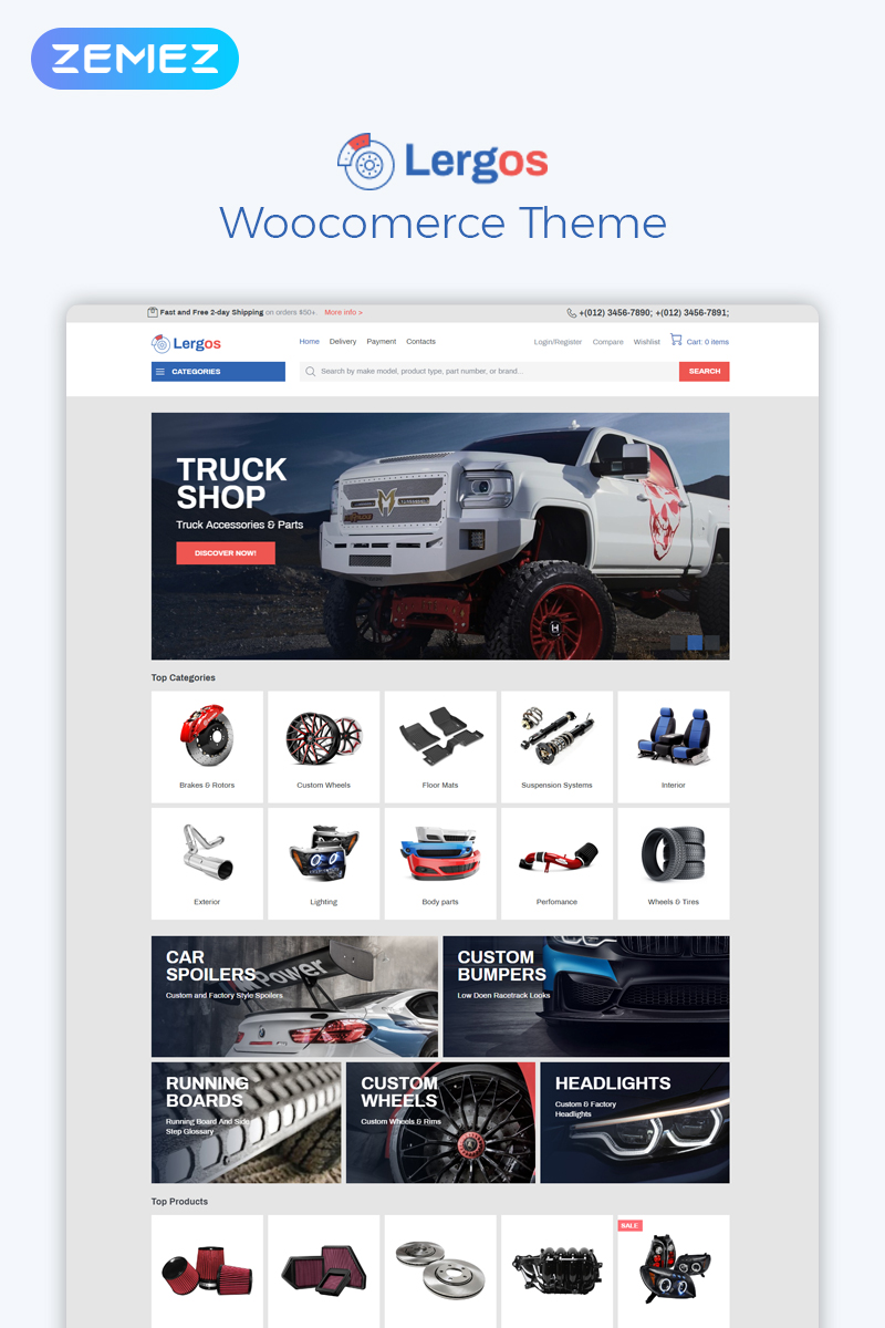 """Lergos - Car Spare Parts ECommerce Classic Elementor"" - WooCommerce шаблон №78091"