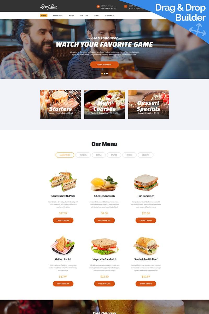 "Moto CMS 3 Template namens ""Sports Bar & Restaurant"" #78088"