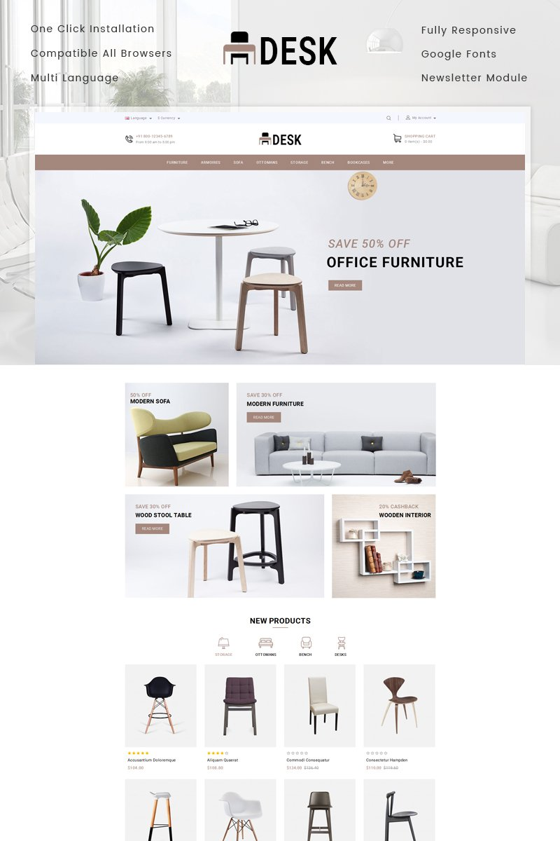 "OpenCart Vorlage namens ""Desk Furniture Store"" #78046 - Screenshot"