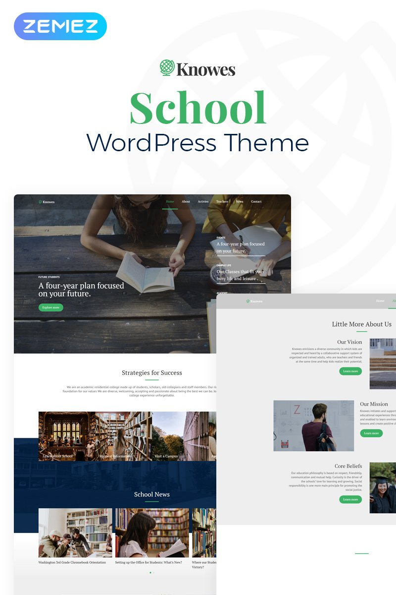 Responsivt Knowes - Education Multipurpose Modern Elementor WordPress-tema #78084