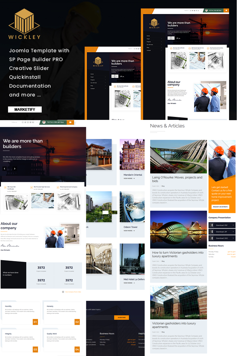 Reszponzív Wickley - Construction, Industry and Factory Joomla sablon 78037