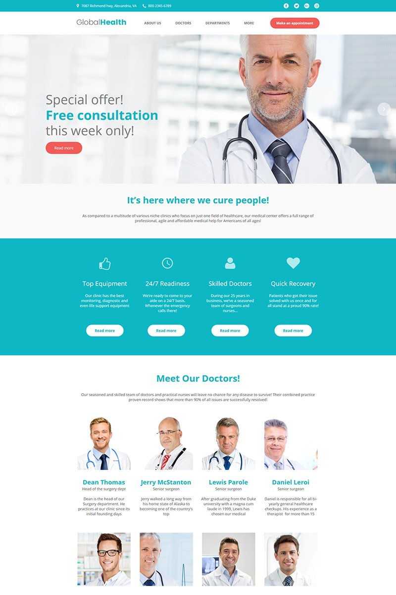 "Tema Moto CMS HTML #78039 ""GlobalHealth - Doctor & Medical"" - screenshot"