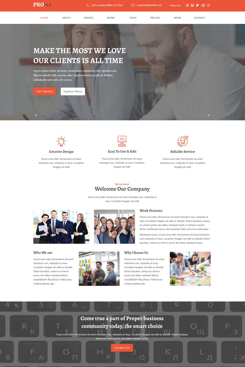 """Template Muse Responsive #78064 """"Proper-One Page Parallax"""""""