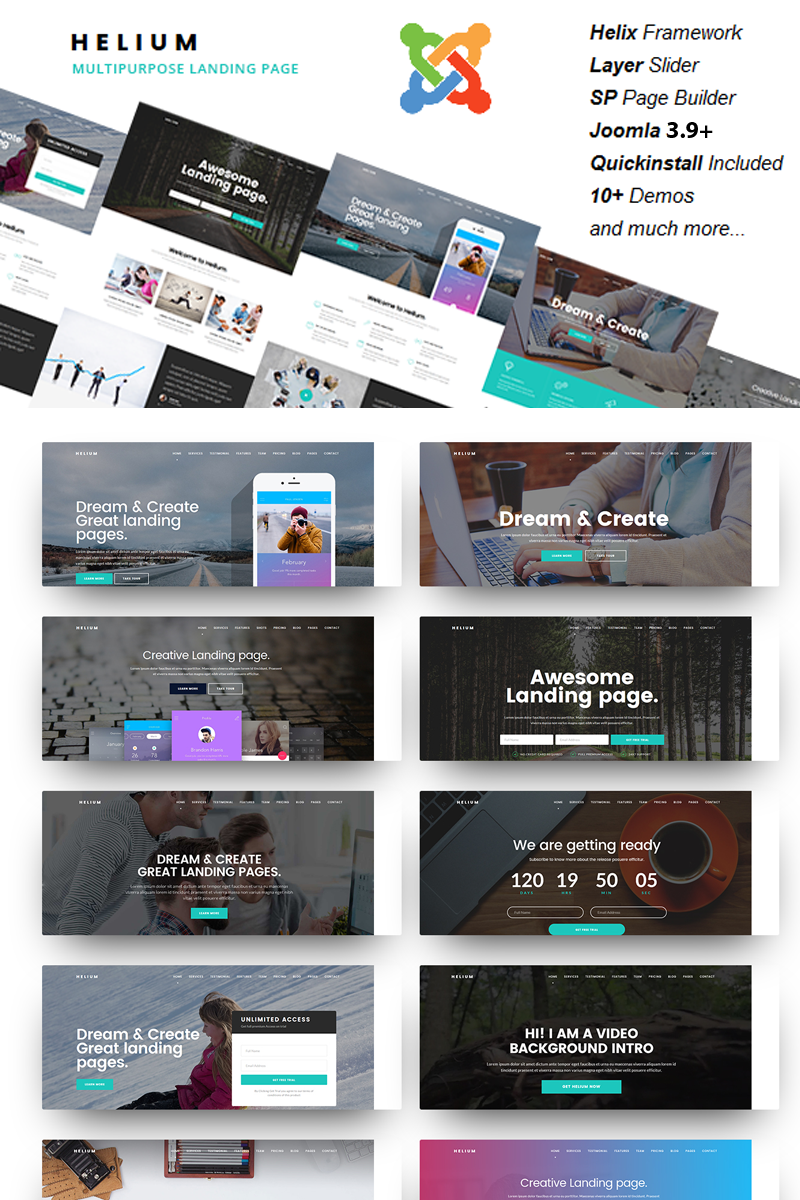 Helium - 10 in 1 Multipurpose Joomla Template