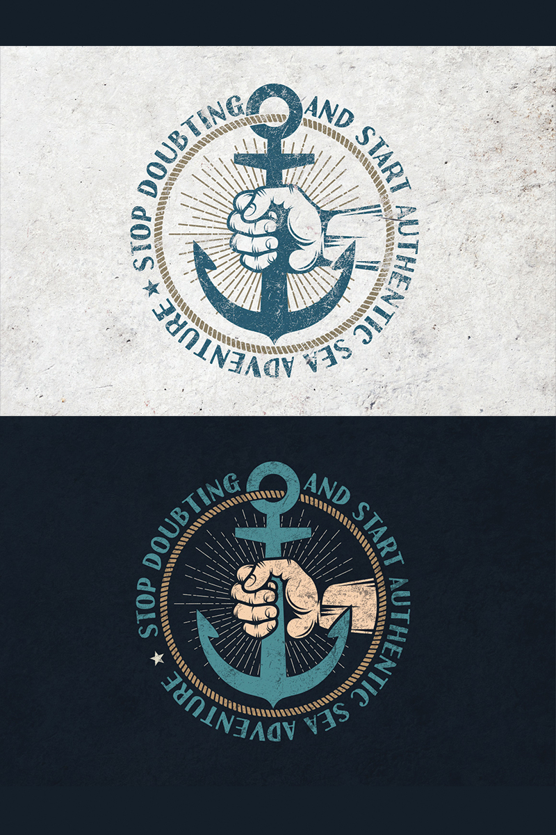 Anchor in Hand Retro Illustration