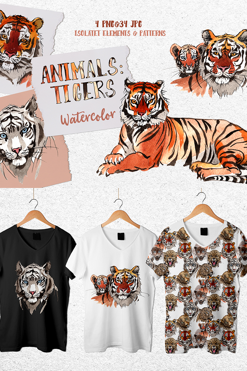 Animals: Tigers Watercolor Png Illustration