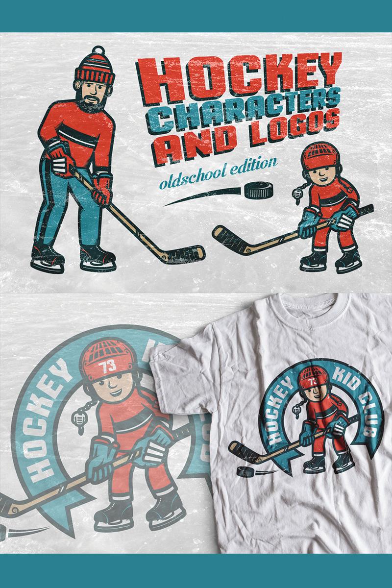 Hockey Characters and Logos Illustration - screenshot