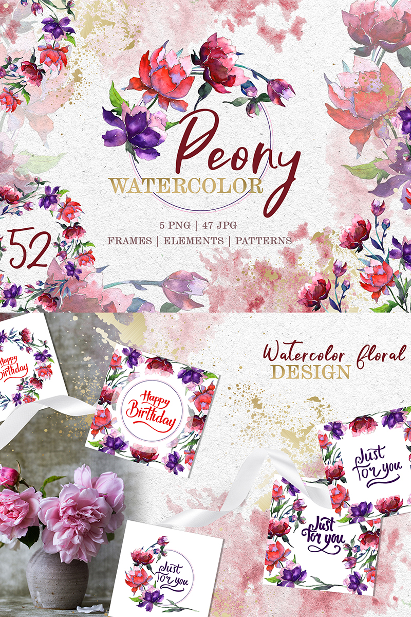 "Ilustrace ""Peony Tenderness Watercolor Png"" #78183"