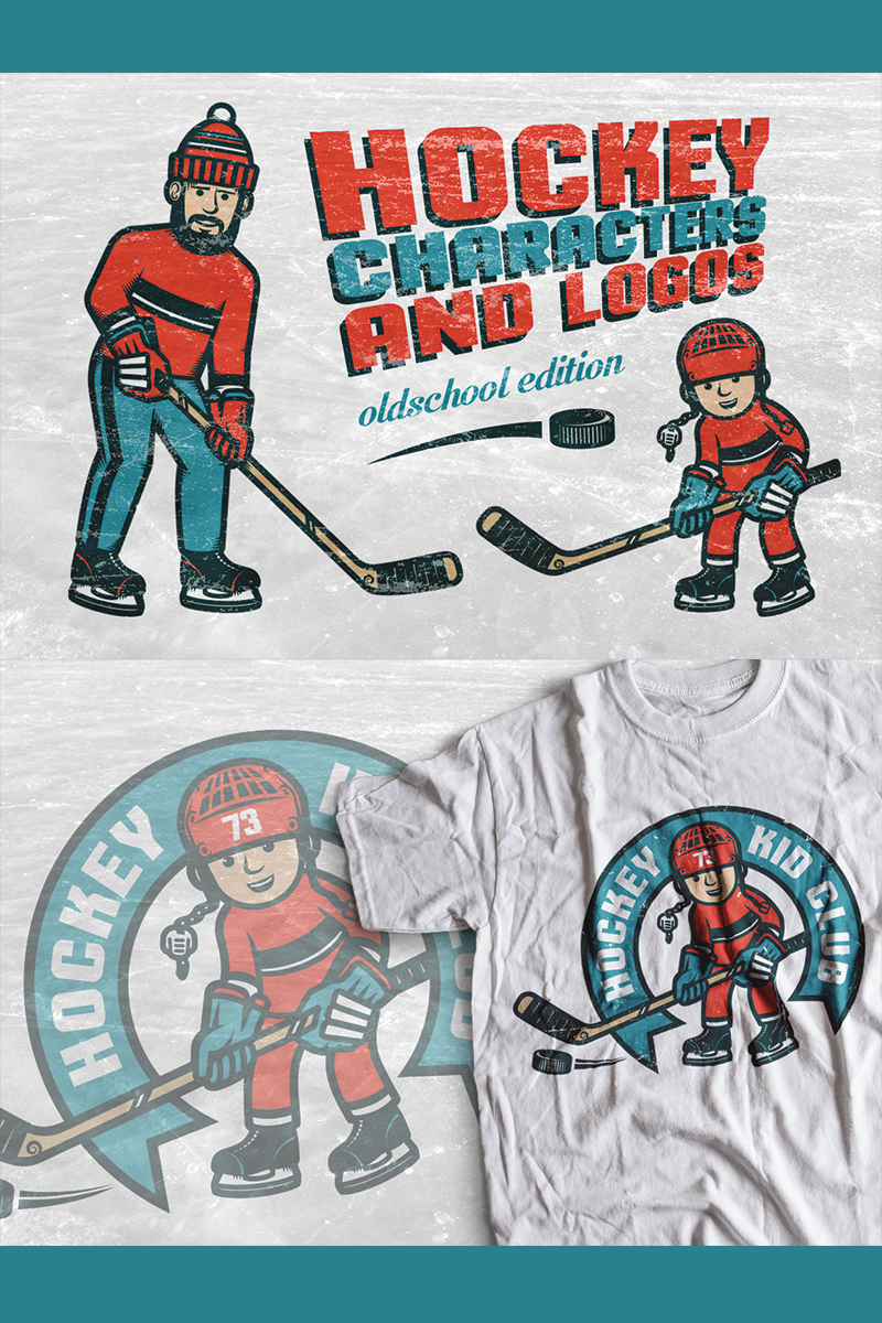 "Ilustración ""Hockey Characters and Logos"" #78168 - captura de pantalla"