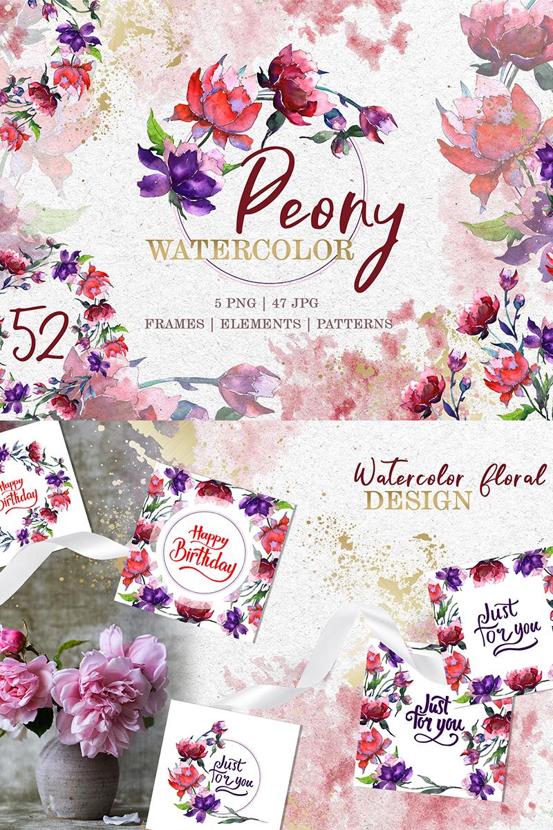 """Ilustración """"Peony Tenderness Watercolor Png"""" #78183"""