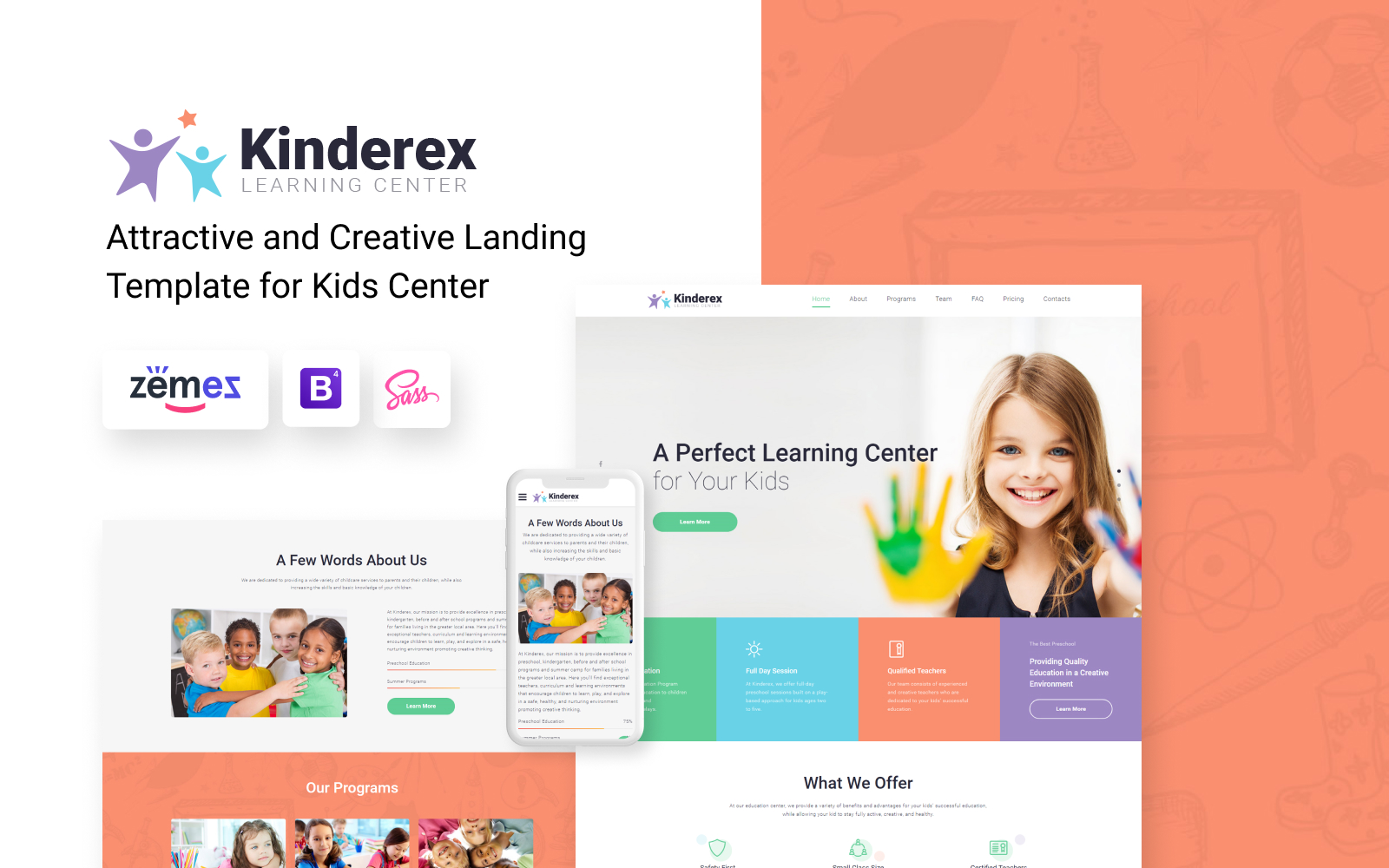 """Landing Page Template namens """"Kinderex - Kids Learning Center Clean HTML5"""" #78185"""