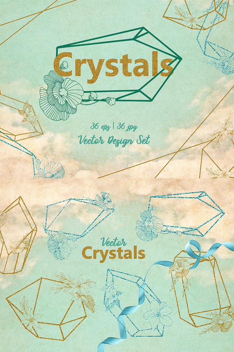 Magic Crystals Vector Design Set Illustration