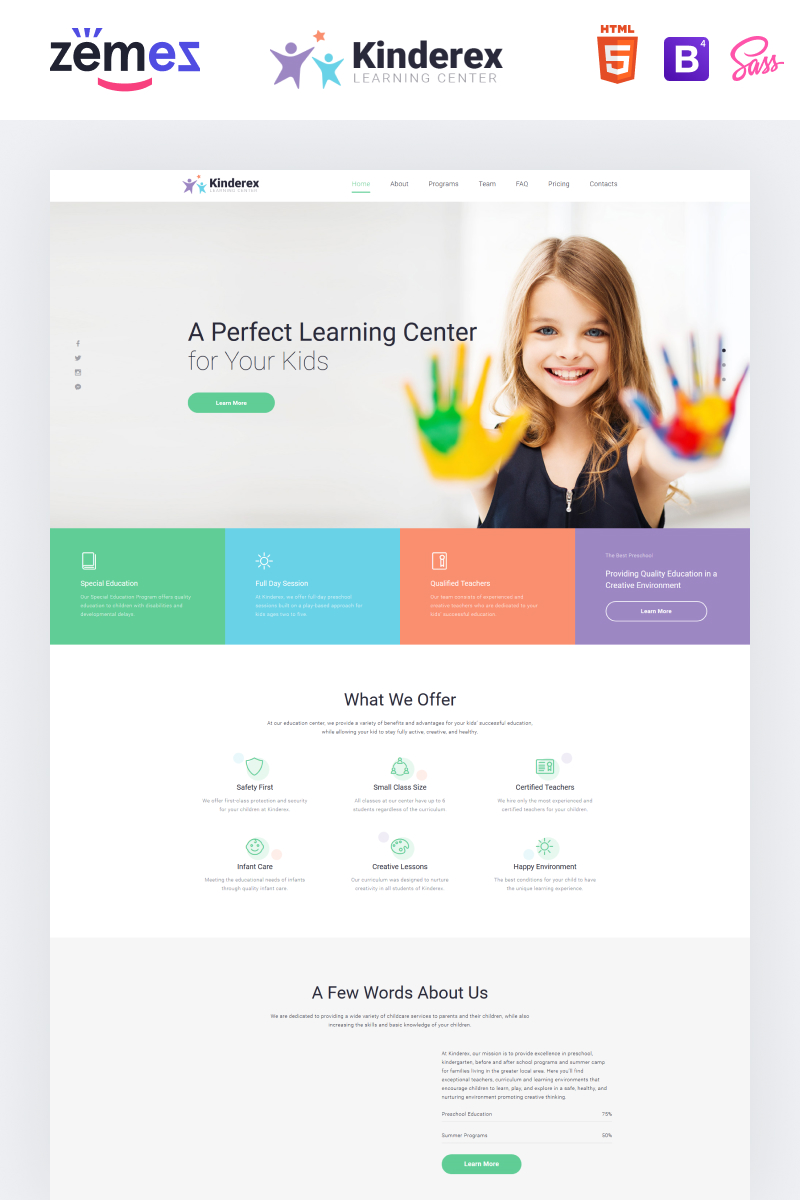 """Modello di Landing Page Responsive #78185 """"Kinderex - Kids Learning Center Clean HTML5"""""""