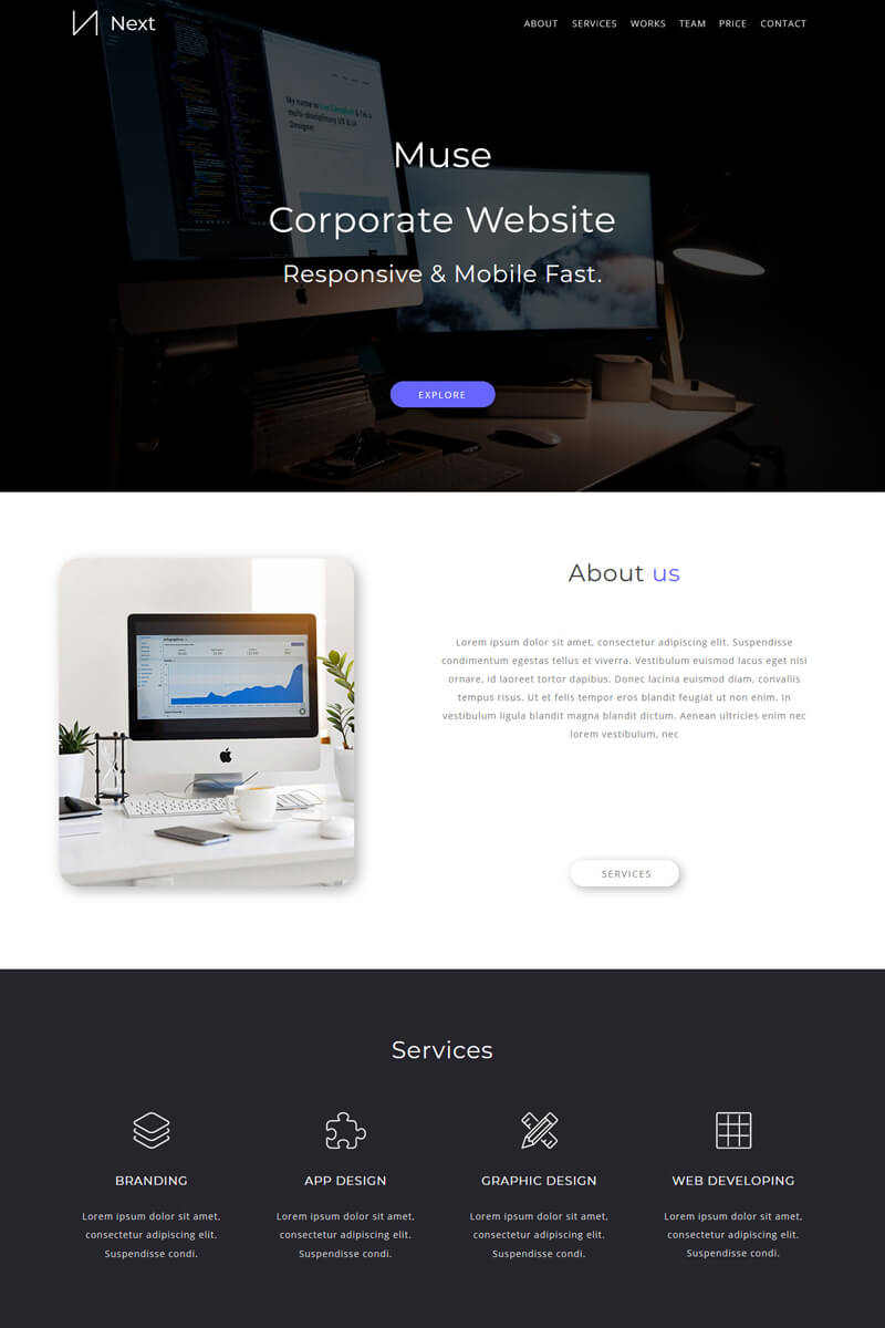 Next Creative Portfolio Muse Template - screenshot