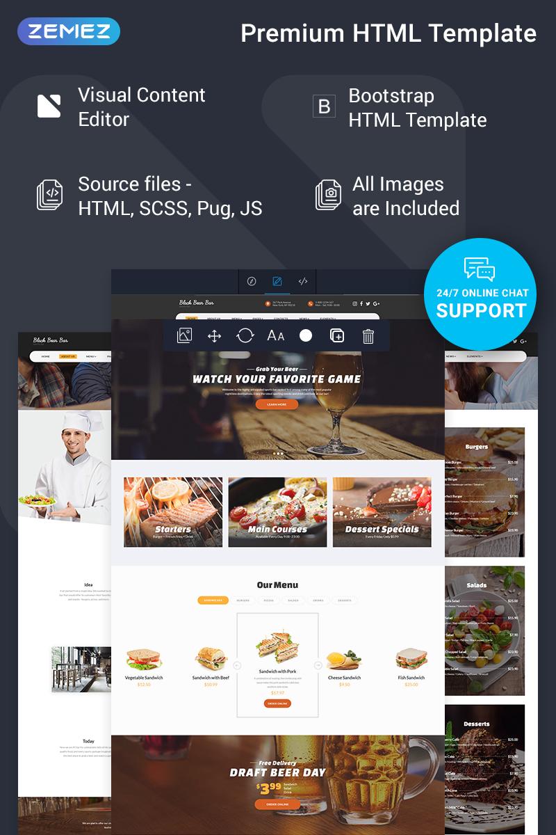 Responsywny szablon strony www Black Bear Bar - Food & Restaurant Ready-to-Use Modern HTML5 #78186
