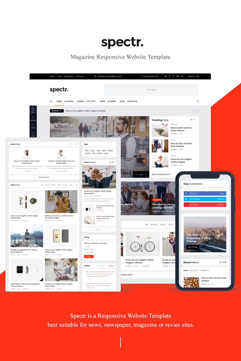 """Spectr - Responsive News and Magazine"" modèle web adaptatif #78170"