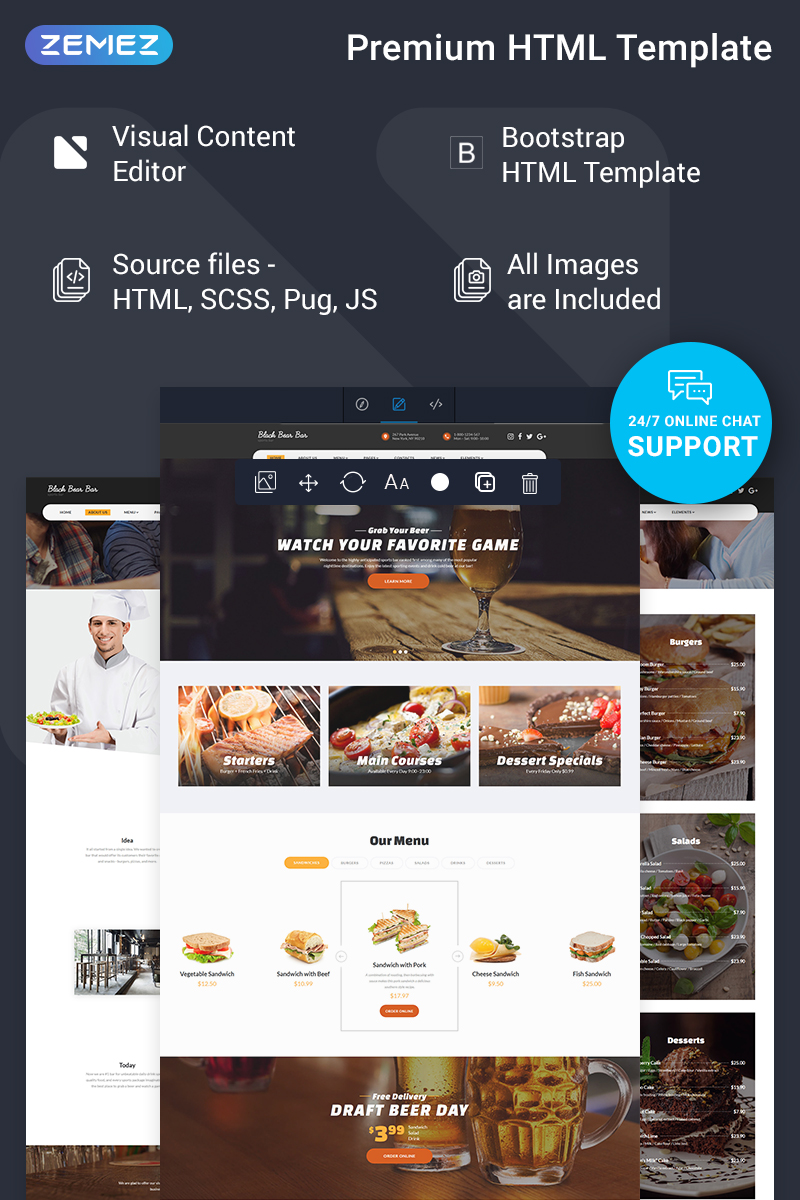 "Tema Siti Web Responsive #78186 ""Black Bear Bar - Food & Restaurant Ready-to-Use Modern HTML5"" - screenshot"