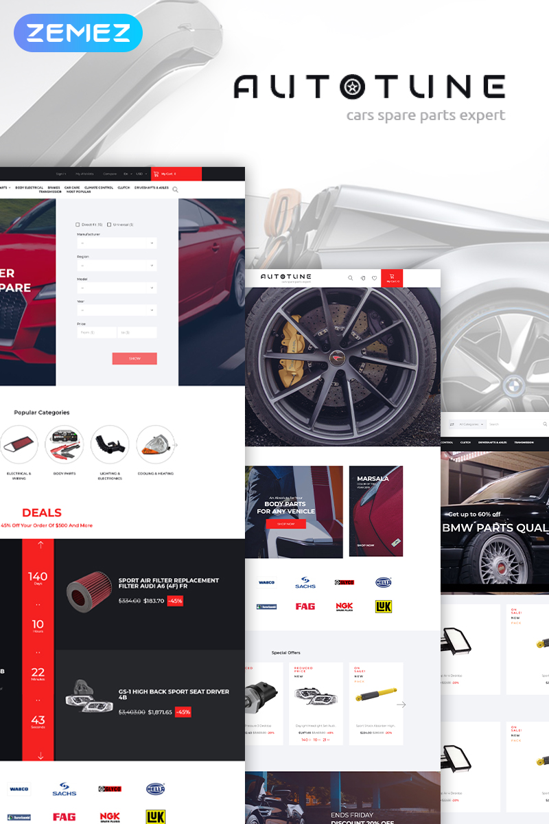 Autotune - Cars Spare Parts Clean Bootstrap Ecommerce PrestaShop Theme - screenshot