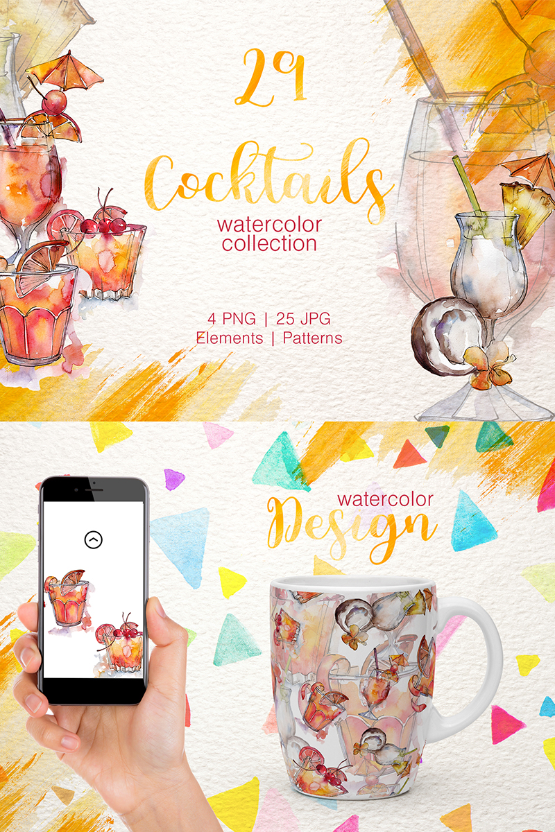 Cocktail Watercolor Png Illustration