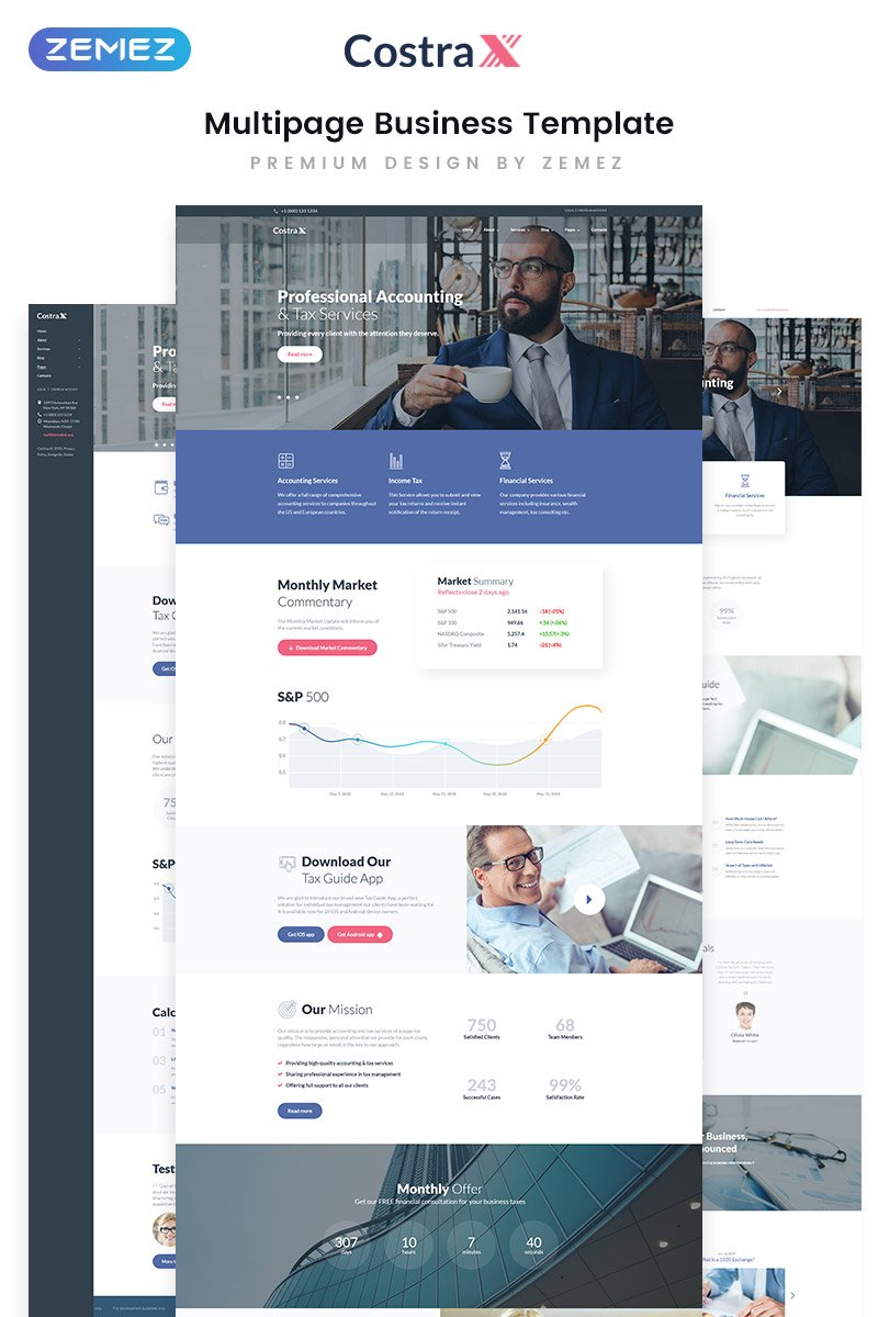 Costrax - Accounting Services Modern Multipage HTML5 Website Template - screenshot
