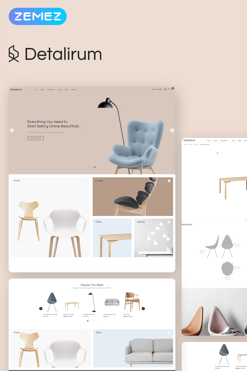Detalirum - Furniture Design ECommerce Minimal Elementor Tema WooCommerce №78228