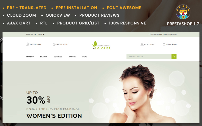 """Gloriea Spa & Beauty"" Responsive PrestaShop Thema №78284"