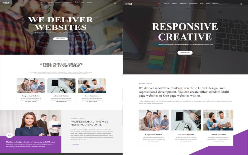 Intra - Multi-Page + One Page Joomla Template